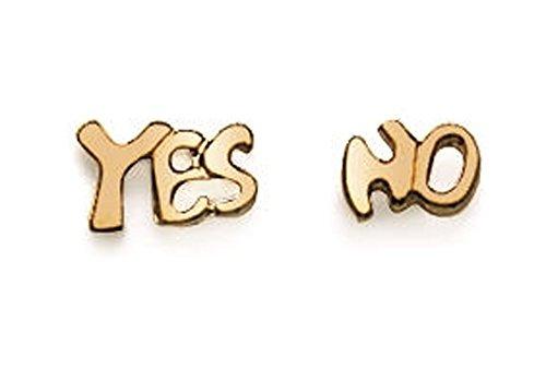 Pendientes chapados en oro – Yes No – sí – Clavo pulgas