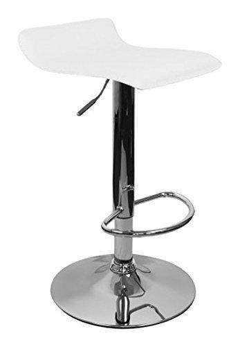 Amstyle IBIZA Barkruk, bekleding kunstleer, wit, in hoogte verstelbaar, design barstoel zonder rugleuning, chroom, 110 kg, zonder wieltjes, verstelbaar, zonder leuning, draaibaar voor thuis, X-XL