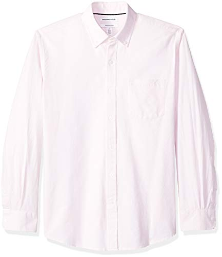 Amazon Essentials Men's Regular-Fit Long-Sleeve Solid Pocket Oxford Shirt, Pink, X-Large