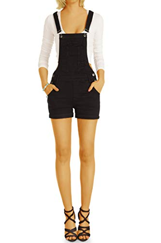 bestyledberlin BE Styled Damen Hosen Jeans Shorts Kurze Latzhosen j4p XL schwarz