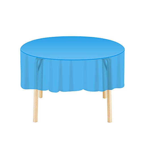 Etmury Plastic Tablecloth 6 Pack Disposable Round Table Covers 83 in. x 83 in. Indoor or Outdoor Parties Birthdays Weddings Christmas(Dark Blue)