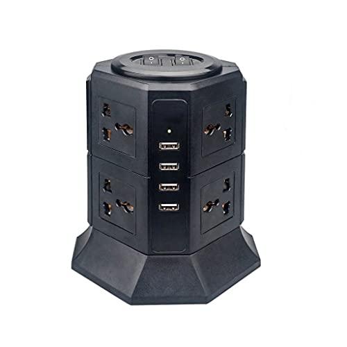 YWSZJ Tira de alimentación USB Vertical 8/12 UE/Reino Unido/EE. UU. / Enchufe eléctrico Enchufes universales Cargador Protector contra sobretensiones Cable de extensión de 6,6 pies / 2 m