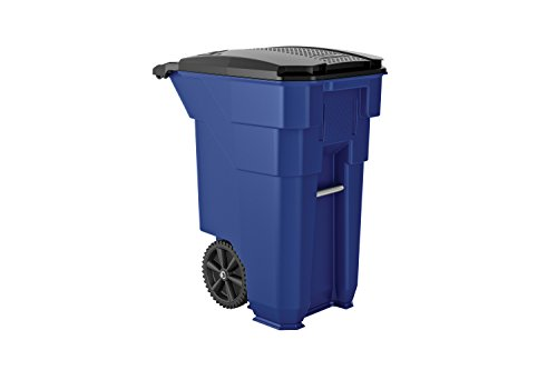Suncast Commercial BMTCW96BL Wheeled Trash Can, 43.75' Height, 31' Width, 96 gal Capacity, Plastic,...