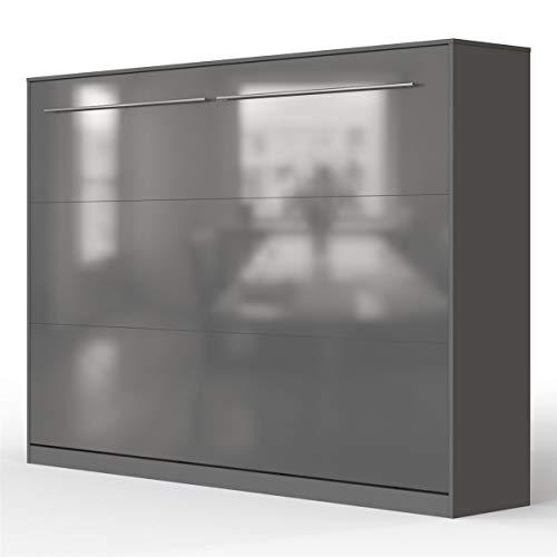 SMARTBett Standard 140x200 Horizontal Anthrazit/Anthrazit Hochglanzfront Schrankbett | ausklappbares Wandbett, ideal geeignet als Wandklappbett fürs Gästezimmer, Büro, Wohnzimmer, Schlafzimmer