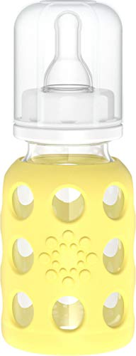 Lifefactory Baby Glas-Trinkflasche mit Sauger Größe 1 (0-3 Monate für Neugeborene), BPA-frei, naturnah, Silikon-Schutzhülle, Borosilikatglas, spülmaschinenfest, 120ml, gelb