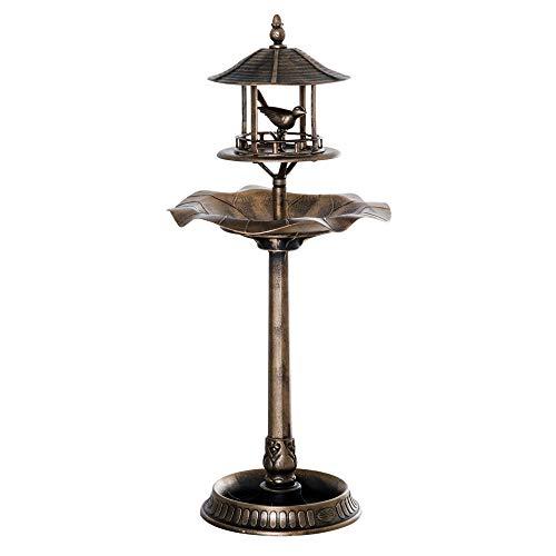 Outsunny Bain d'oiseaux Abreuvoir pour Oiseaux jardinière 3 en 1 dim. Ø 50 x 113H cm polypropylène Bronze Antique