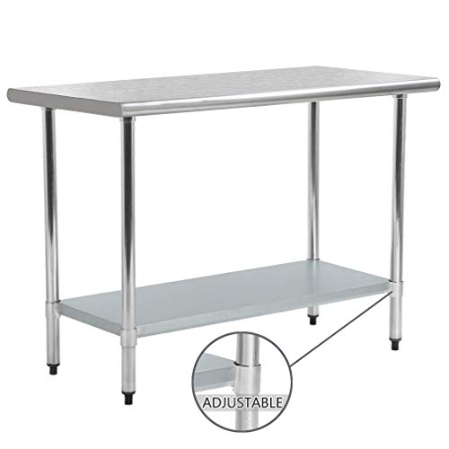 Kitchen Work Table Stainless Steel NSF Commercial Worktable with Adjustable Shelf, 24 X 48 Inches, Scratch Resistant Heavy Duty Metal Food Prep Table for Garage Restaurant Kitchen, Silver