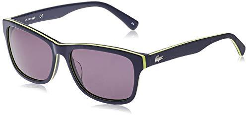 Lacoste L683S Square Sunglasses, Blue/Yellow/Blue, 55 mm