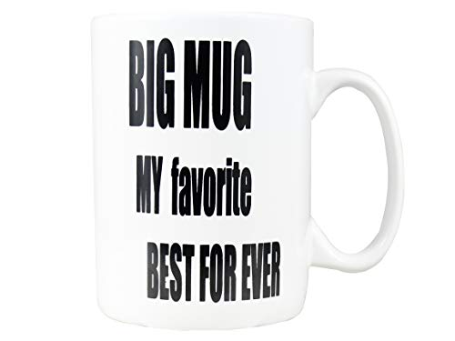 Bycnzb 30oz Super Large Ceramic Coffee Mugs Large Handles BIG MUG MY favorite BEST FOR EVER (white)