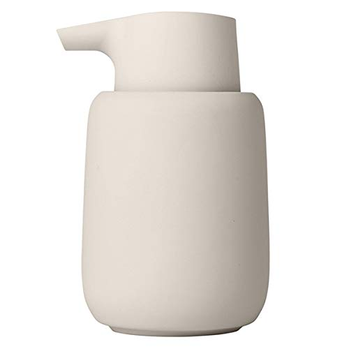 blomus -SONO- Seifenspender aus Keramik, Moonbeam, Seifendosierer, edle Optik, mattiert, hochwertige Verarbeitung, exklusives Badaccessoire (H / B / T: 14 x 8,5 x 8,5 cm, Farbe: Moonbeam, 69054)