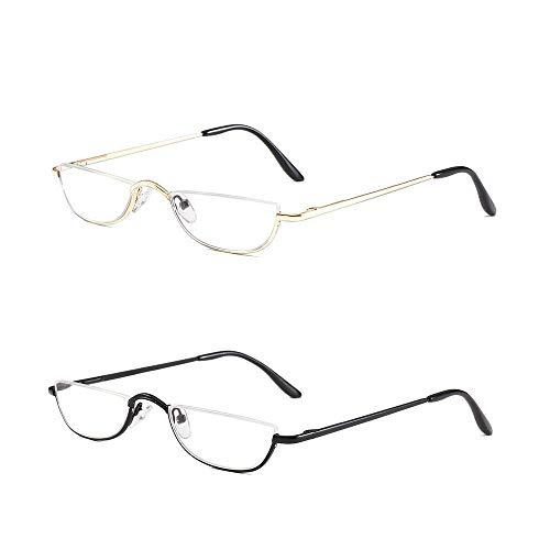 KoKoBin Half Reading Glasses - 2 Pairs Half Rim Metal Frame Glasses Spring Hinge Readers for Men and Women, Black+Gold 2.00
