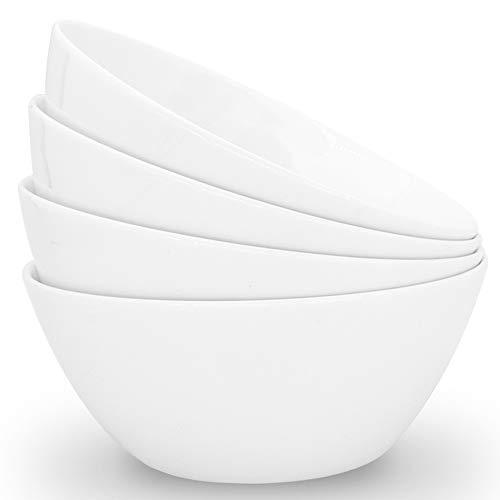 Zoneyila Porcelain Soup Bowls, 32 Ounces White Ramen Bowl for Noodle, Ceramic Salad Bowls Set of 4, Large Cereal Bowls for Kitchen, Dishwasher and Microwave Safe