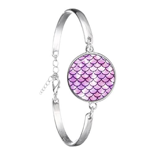 Pulsera de cristal hecha a mano con patrón de escala de peces de sirena, brazalete clásico chapado en plata, joyería para mujeres y hombres regalo