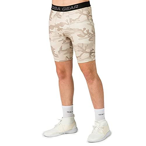 GSA Camo Biker Tights with Side Pocket Pantalones Cortos de Yoga, Beige, XL para Hombre