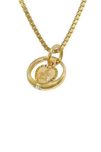 trendor Taufring mit Amorherz Gold 585 an goldplattierter Kette zauberhafter Taufschmuck für Mädchen, Jungen oder Mütter, Geschenkidee zur Taufe, 75120