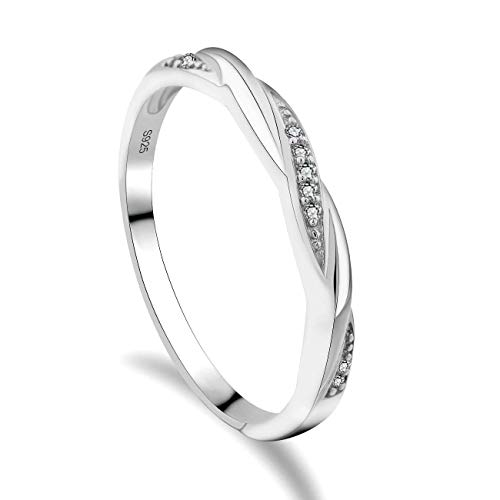 GULICX Skinny 925 Sterling Silver & Cubic Zirconia CZ Wedding Promise Eternity Ring Sizes W