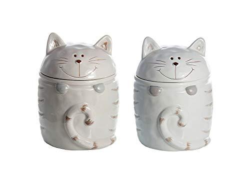 SPOTTED DOG GIFT COMPANY Keramik Vorratsdosen mit Deckel, 2er Set Aufbewahrungsbehälter Küche Katze, Geschenk für Katzenliebhaber Katzenfreunde