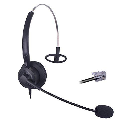 Bemma Cuffie Telefono Fisso RJ11 Mono con Microfono a Cancellazione del Rumore, Auricolare Call Center Ufficio per Yealink T46G Snom 710 715 Cisco 7911 7912 Avaya 1616 9608 Grandstream GXP1405 B200Y1