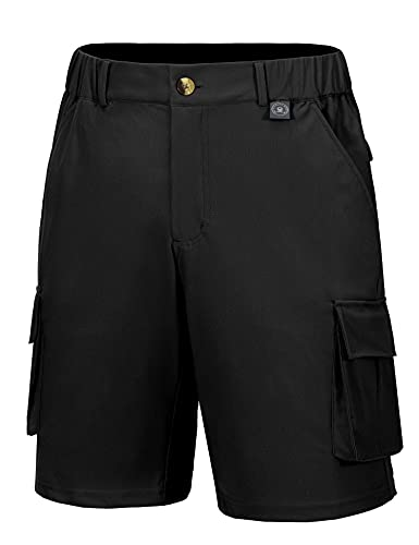 Little Donkey Andy Men's 11 Inch Ultra Stretch Quick Dry Hiking Cargo Shorts Velcro Pockets for Outdoor Golf Travel Camping UPF50+ Black L