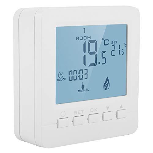 Cerlingwee Termostato Digital, termostato programable, Caja Fuerte confiable Blanca fácil de operar para el hogar