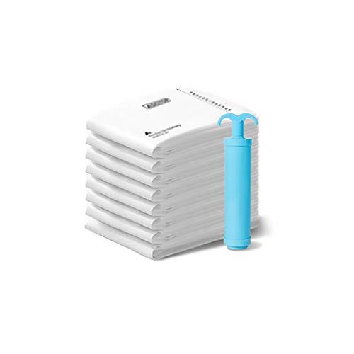 SFF Ropa Almacenaje Bolsas de Almacenamiento de vacío Bolsa de Ahorro de Espacio Sellador de Bolsas (8 x Grande) Bolsas de compresión Bomba de Mano de Viaje Bolsas de Vacio (Color : White)