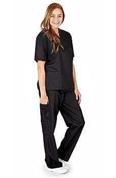 M&M SCRUBS Women Scrub Set Medical Scrub Top and Pants Run Large  XXXXL Black