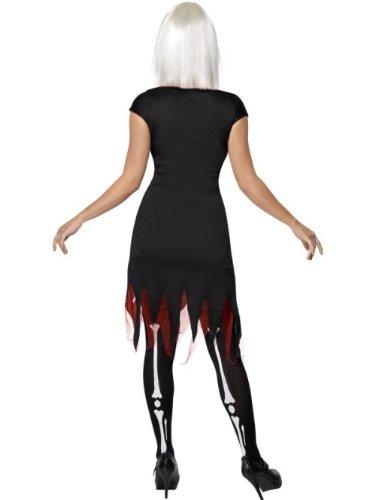 SMIFFYS Smiffy's Costume Ossa Luminose, comprende Abito e Luci LED Donna, Nero, M-EU Dimensione 40-42, 36993M