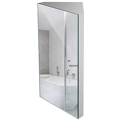 24 Inch Wall Mount Corner Medicine Cabinet with Mirror, Bathroom Wall Cabinet, Brushed Stainless Steel - Left Open Mirror Door Three Shelves