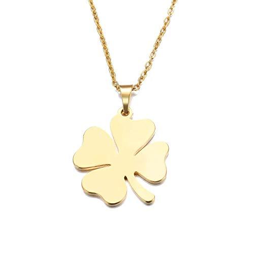 Simplicidad con Estilo Collar Collar de Acero Inoxidable para Mujer Hombre Lover'S Clover Gold Gold and Silver Color Colgante Collar de Compromiso Joyería Oro (Color : Gold)