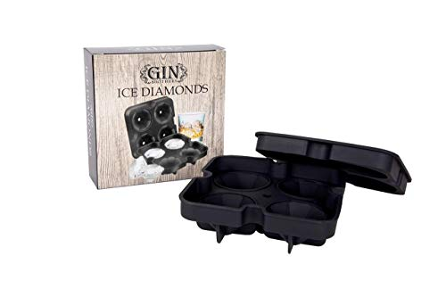 Diamanten - XXL-Eiswürfelform für 4 Eisdiamanten | Silikon - Eiswürfelform | Eisform | Eiskugel | EIS Balls | Eiswürfel | Ice Ball Mold | Perfekt für Gin Tonic, Whiskey, Moscow Mule, Longdrinks