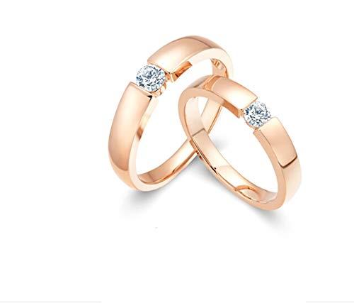 ANAZOZ 1 Paar Trauringe/Eheringe 18 Karat Rosegold Bandring Rund mit Diamant 0,25 ct Eheringe Partnerringe Verlobungsringe Hochzeitsringe Damenring 54 (17.2) & Herrenring 61 (19.4)