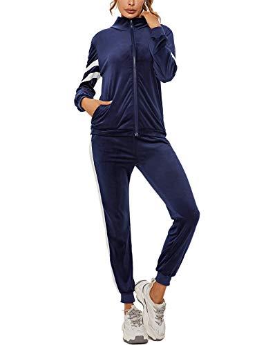 Akalnny Damen Velours Trainingsanzug 2 Teiller Nicky Hausanzug Kuschlig Jogginganzug Sportliche Zip Jacke mit Stehkragen+Hose mit Kordelzug und Taschen Navy Blau S
