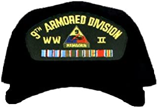 9TH ARMORED DIVISION WORLD WAR II * W/RIBBON EMBROIDERED EMBLEM BLACK Ball Cap/Hat