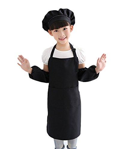 nikgic 1Set Ajustable Niños Cuello Cocinar Delantal cocina Hornear y reutilizables BBQ delantales 62x 50cm (Delantal, gorro de cocinero, Overs corta), negro, 62*50cm