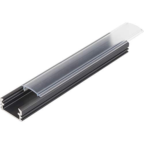 KIT de 4 x 1 mètre P2 Profilé en aluminium NOIR pour les bandes LED avec couvercles transparents, bouchons et clips de fixation