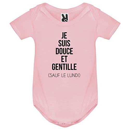 LookMyKase Body bébé - Je suis Douce et Rebelle - Bébé Fille - Rose - 12MOIS