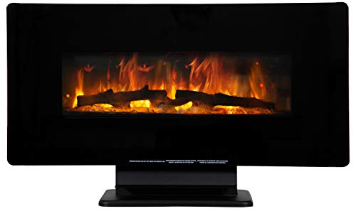 "36"" Electric Fireplace Free Standing Wall Mounted Fireplace Heater 750 W / 1500 W Space Heater Ultra-Thin Lightweight LED Control Panel&Crystal Options, 7 Flamer Color,CSA Approved,Black"