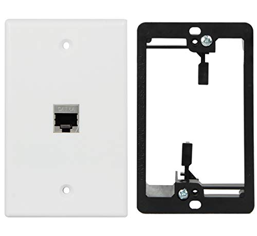 Wi4You Cat6 Wall Plate 1 Port, Ca6A RJ45 Wall Plate White + Low Voltage Mounting Bracket + Full Shielded Cat6A Female Coupler, Applied to Cat5, Cat5e, Cat6, Cat6A Ethernet Cable (Cat6A-1port, 1pack)