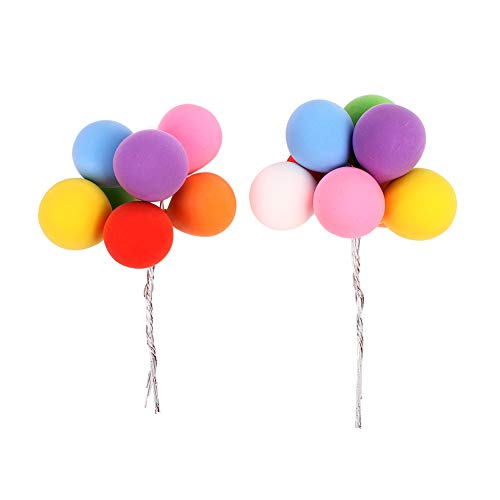 Unimall 2 Sets(16Pcs) Romantic Colorful Balloon Cake Topper Cupcake Picks Wedding Birthday Cake Decorations Party Favor Dessert Cupcake Topper Cake Picks Party Decoration Supply