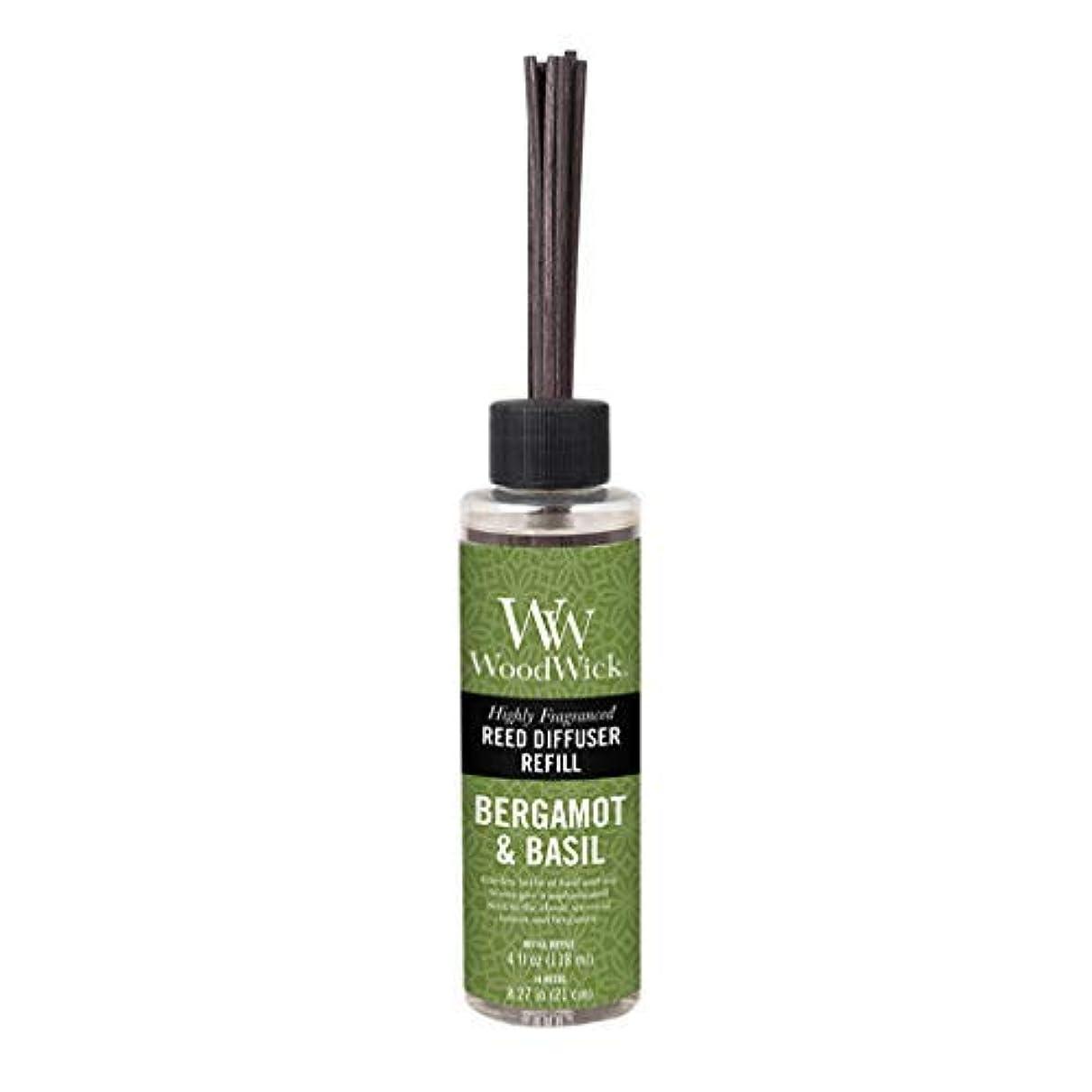 小道具方向セージWoodwick Candle Reed Diffuser Refill 4 Oz. - Bergamot & Basil [並行輸入品]