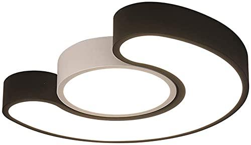 Lámpara de techo LED Metal Moda Metal Lámpara de techo creativa, Lámpara de techo LED Lámpara de habitación Moderno Blanco y negro Dormitorio Sala de estar Semicircular Estudio Oficina Iluminación Are