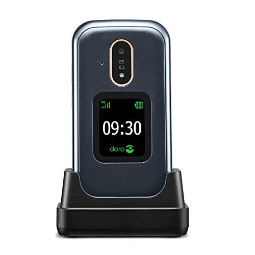 Doro 7080 4G GSM Mobiltelefon mit großem Farbdisplay, Bluetooth, Whatsapp, Facebook, Notruftaste, Taschenlampe, Wi-Fi, inkl. Tischladestation, 380470, Graphit-Weiss
