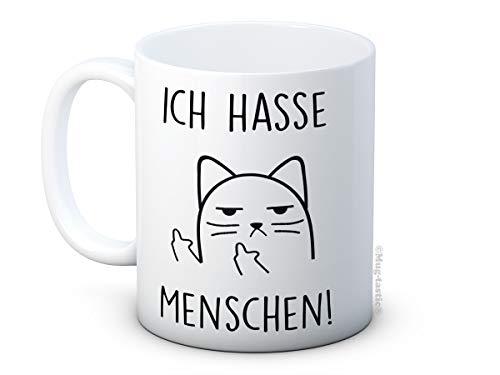 mug-tastic Ich Hasse Menschen! - Unhöfliche Katze Cat - Lustig Hochwertigen Kaffeetasse Becher