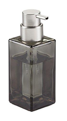 mDesign eckiger Schaumseifenspender wiederbefüllbar 414 ml Füllmenge - edler Seifenspender bzw. Seifenschaumspender aus Glas mit Pumpfkopf (silberfarben) - Farbe: durchsichtig/getönt