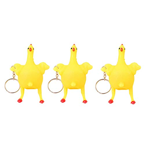 Jeeke 3Pcs Interesting Novelty Toy Chicken&Eggs Keychain Stress Relief Vent Toy Games Activities & Amusements Toys - Keychains Party Favors, Goodie Bag, Birthday Gifts