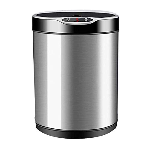 YGR 3 in 1 Smart Trash Can with Toilet Paper Shelf and Toilet Brush,7L Automatic Touchless Sensor Trash Can Chargeable for Office And Bathroom (Color : Gray)