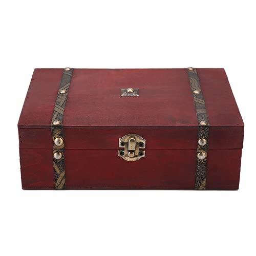 Tyenaza Pequeño Cofre de Madera Decorativo para Almacenamiento, baúl de Madera, Retro, Vintage, Caja de Recuerdos del Tesoro (Color Rojo de Madera)