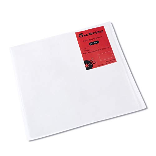 Vinyl Outer Sleeves, Set of 50 Plastic Vinyl Album Covers Protect 12' LP, 3 mil Thick Cystal Clear