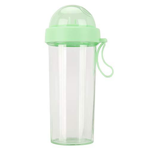 ROSEBEAR Botella de agua 600ml dos pajitas doble uso bebida taza para viajes al aire libre deporte Geeen