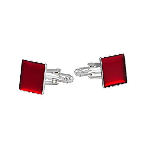 Camisas Accesorios Gemelos Rojo Esmalte Rodio 12 x 12 mm